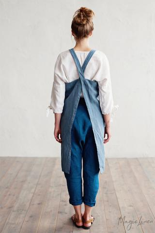 Japanese cross-back linen apron