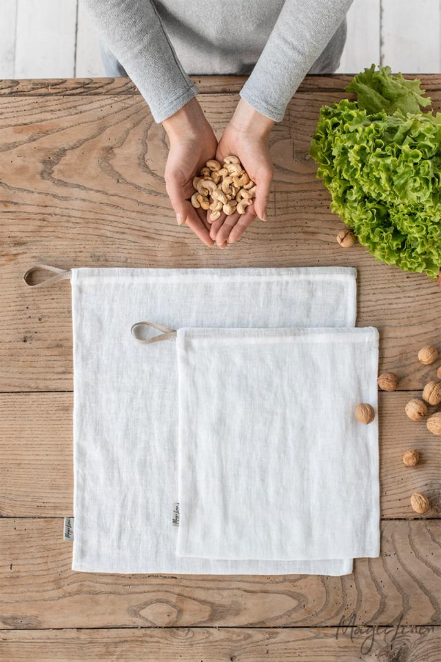 Set of Two Zero Waste Linen Produce Bags