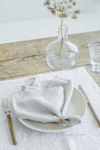 Light gray linen napkin set of 2