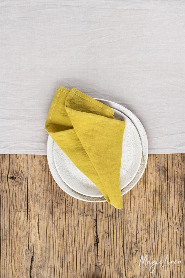 Moss yellow linen napkin set of 2