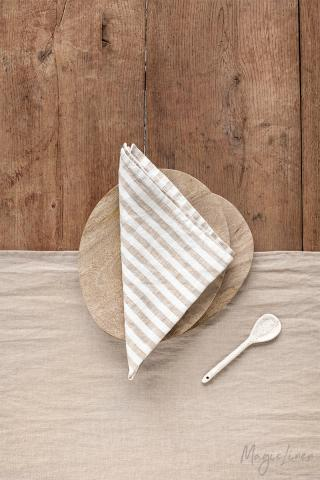 Striped in natural linen napkin set of 2