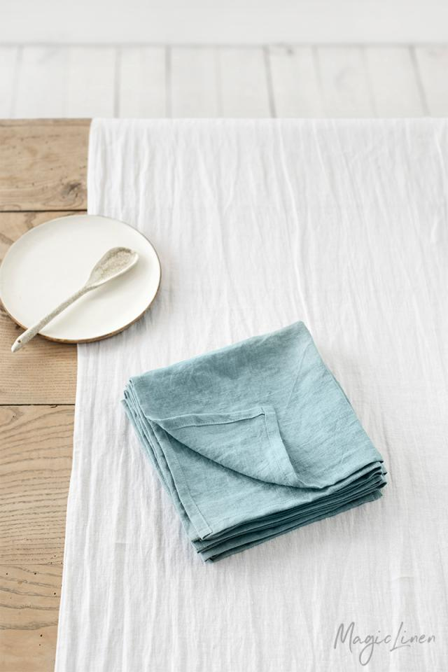 Aquamarine blue linen napkin set of 2