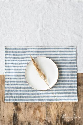 Striped in blue linen placemat set of 2