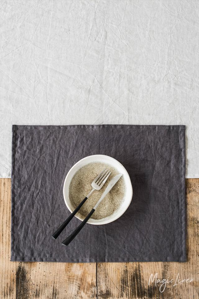 Charcoal gray linen placemat set of 2