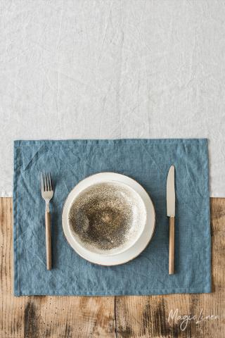 Gray blue linen placemat set of 2