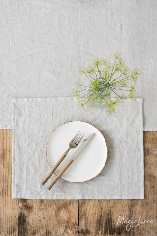 Light gray linen placemat set of 2