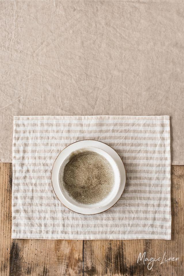 Striped in natural linen placemat set of 2