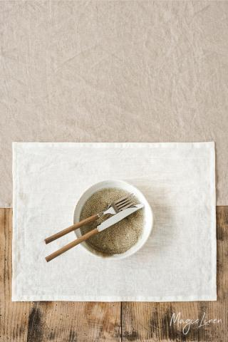 Ivory linen placemat set of 2