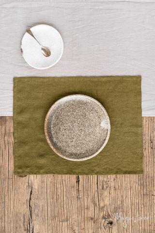 Olive green linen placemat set of 2
