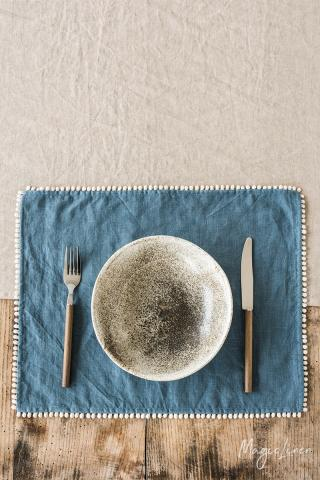 Pom pom trim linen placemat set of 2