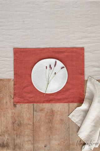 Clay linen placemat set of 2
