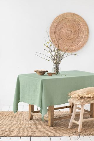 Matcha green linen tablecloth
