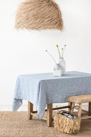Blue Melange Linen tablecloth