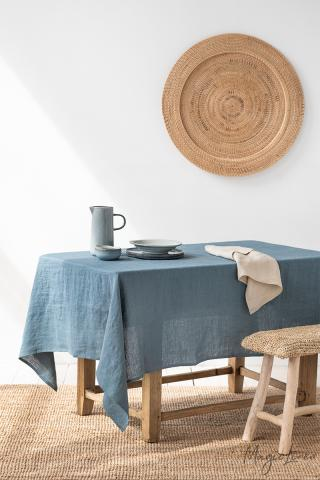 Gray Blue Linen tablecloth