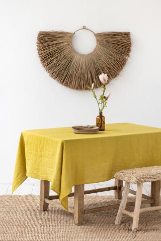 Moss Yellow Linen tablecloth