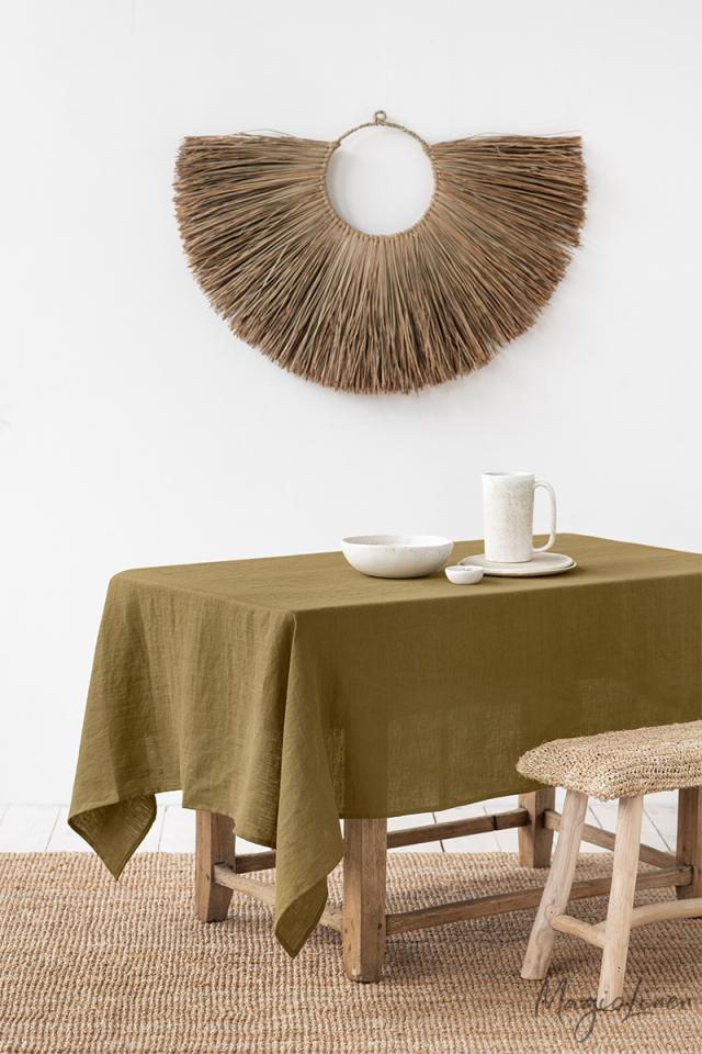 Olive Green Linen tablecloth