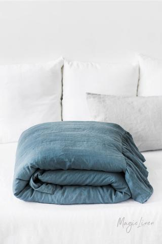 Linen duvet cover with ruffles 4 sides
