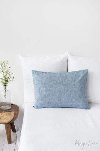 Blue melange linen pillowcase