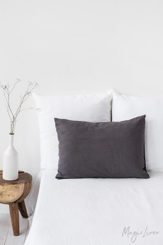 Charcoal gray linen pillowcase