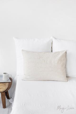 Striped in natural linen pillowcase