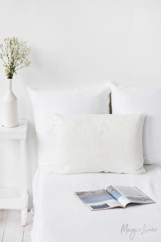 Ivory linen pillowcase