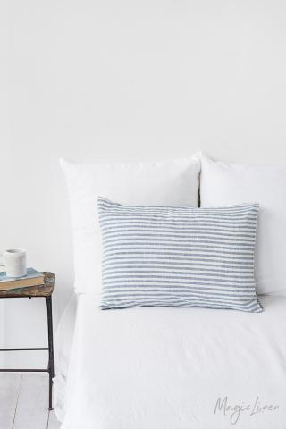 Striped in blue linen pillowcase