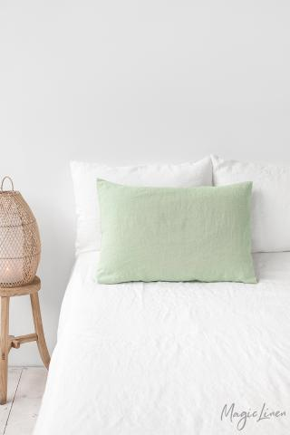Sage green linen pillowcase