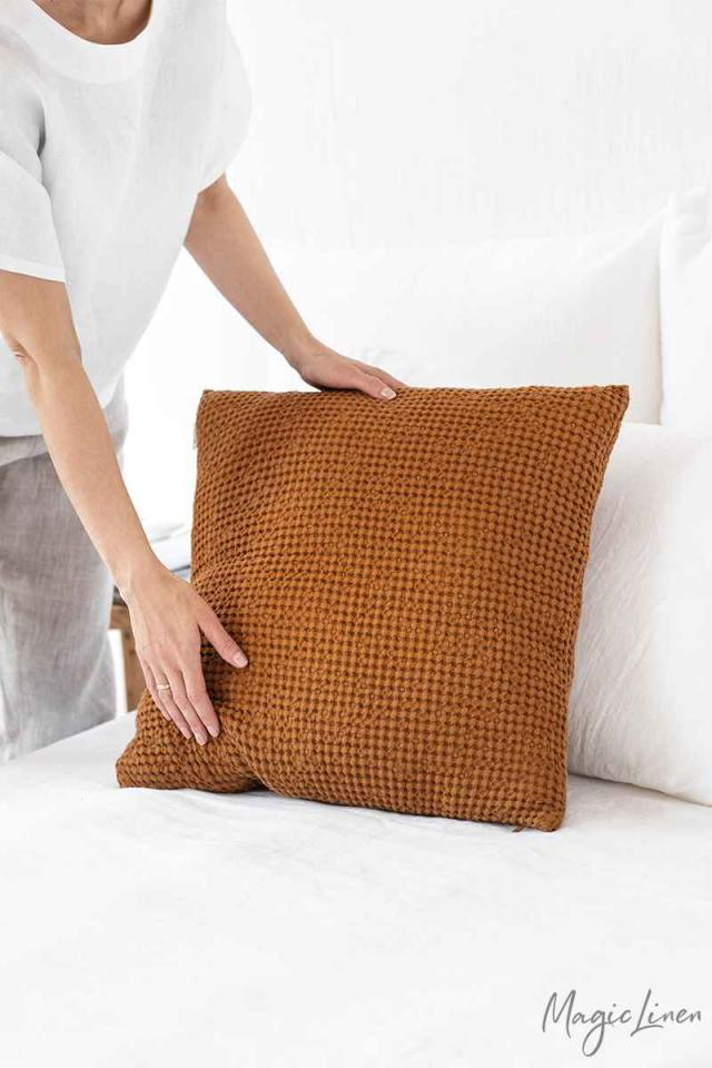 Waffle throw pillow cover