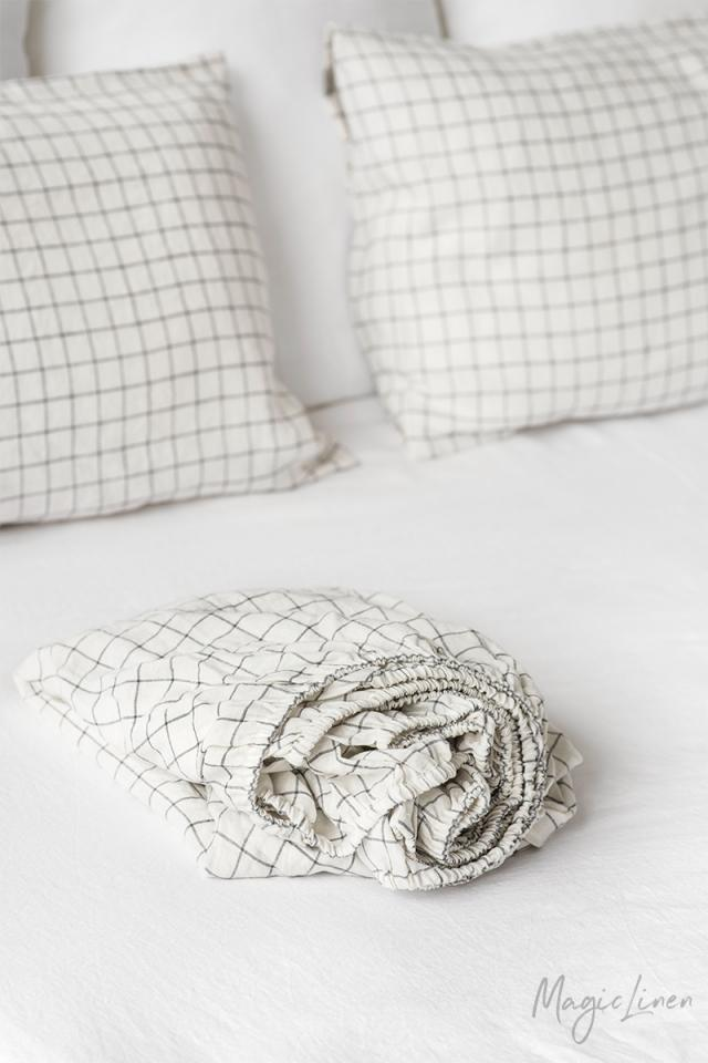 Charcoal grid linen fitted sheet