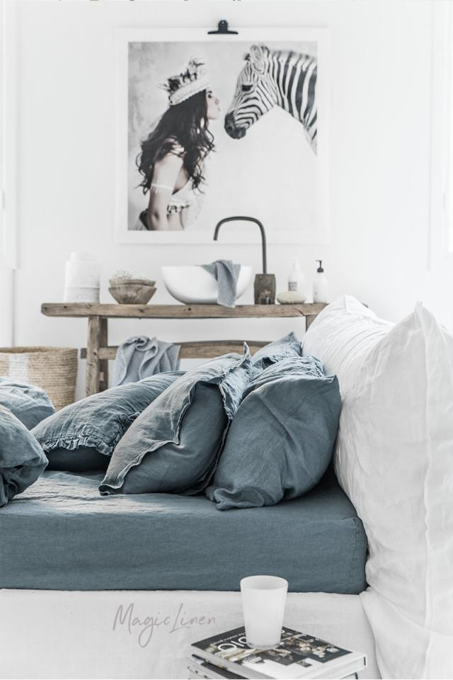 Gray blue linen fitted sheet