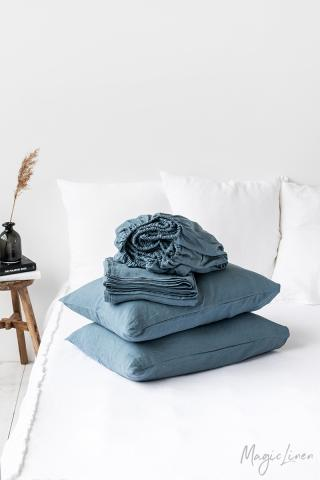 Gray blue linen sheet set (4 pcs)