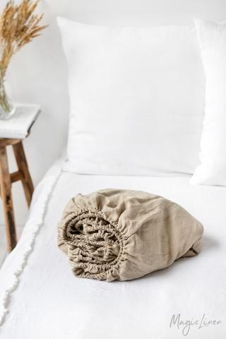 Natural linen fitted sheet