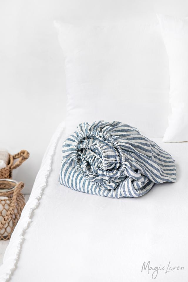 Striped in blue linen fitted sheet