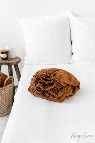 Cinnamon linen fitted sheet