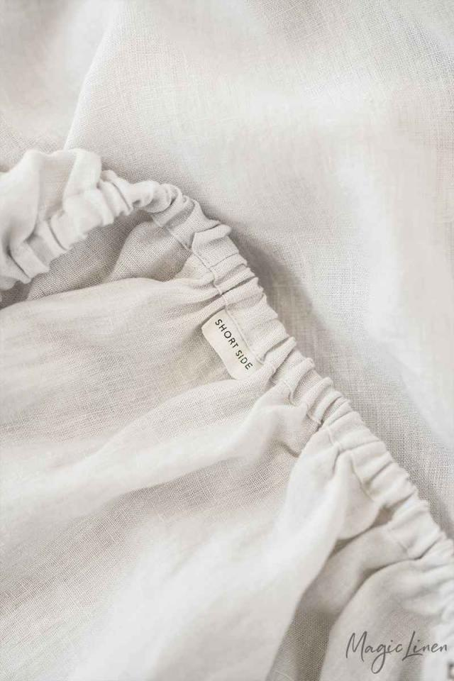 Light gray linen fitted sheet