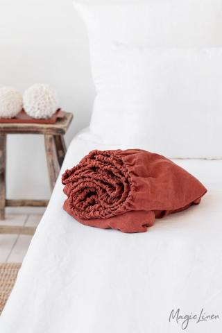 Clay linen fitted sheet