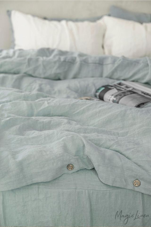 Dusty blue linen duvet cover