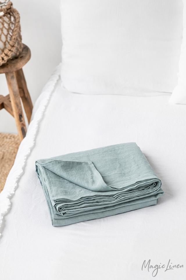 Dusty blue linen flat sheet