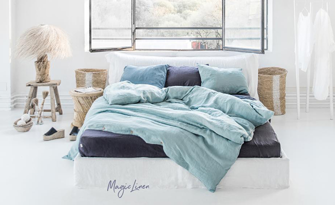 Dress Your Bed for Summer: White, Natural, Aquamarine Blue