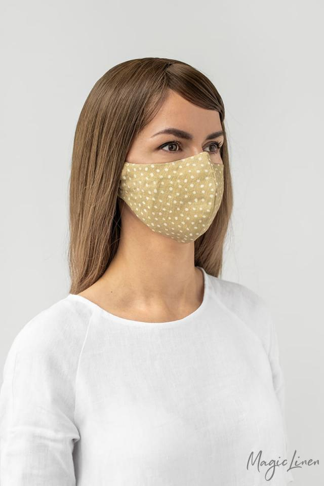 Polka dots linen face mask with nose wire