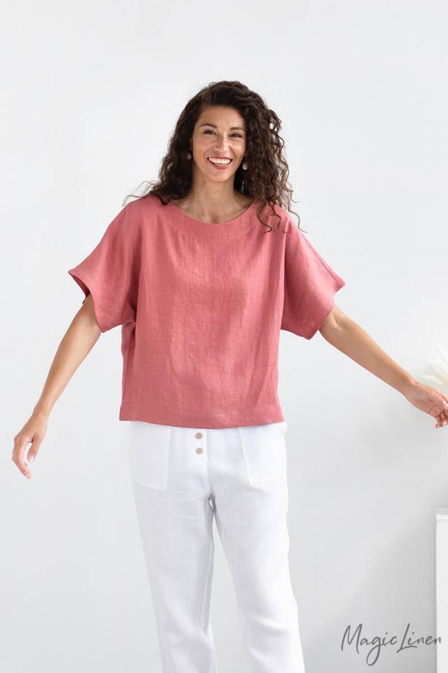Loose-fit linen top MIDWAY