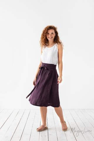 High-waist linen wrap skirt SEVILLE
