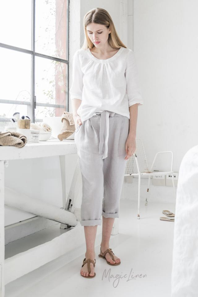 Linen top with 3/4 sleeves MARBELLA