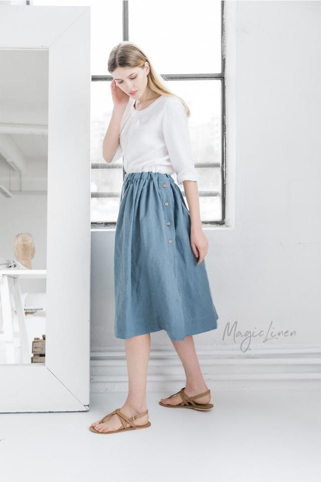 Midi linen skirt with buttons VALLETTA