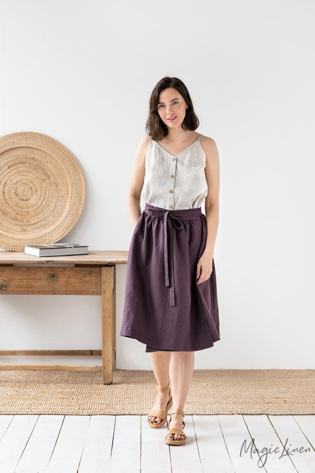 Strap linen top with buttons TROPEA