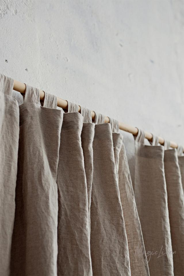 Tab top linen curtain panel in natural color