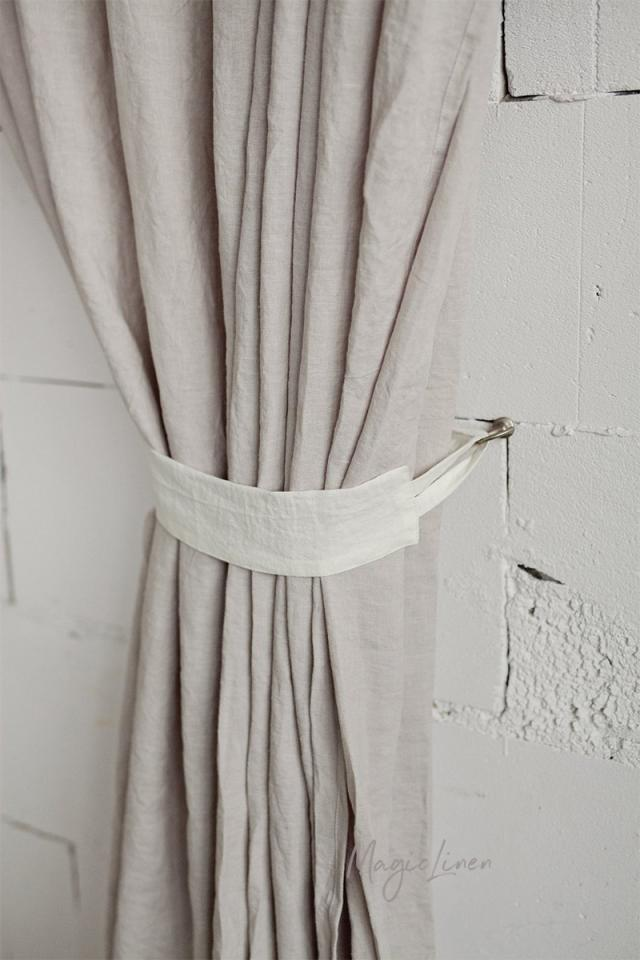 Linen curtain tie-back set of 2